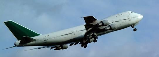 Boeing 747 soaring.